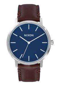 Montre Nixon Porter Leather bleu et marron cuit en vente chez BLACKSTORE